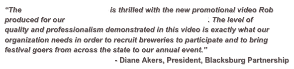 """The Blacksburg Partnership is thrilled with the new promotional video Rob